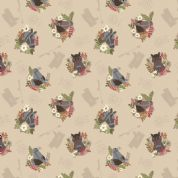 Lewis & Irene Farley Mount - 5574  - Horses on Beige - A227.1 - Cotton Fabric